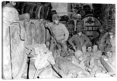 US Infantrymen Rest In A Deserted House In A French Town During WWII Canvas Art Print