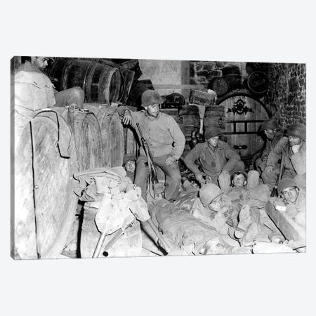 US Infantrymen Rest In A Deserted House In A French Town During WWII Canvas Print #TRK1024} by Stocktrek Images Canvas Print