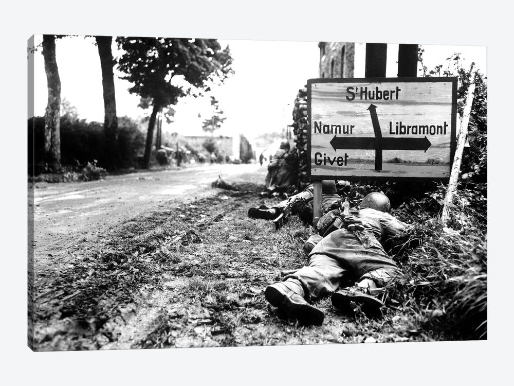 US Infantrymen Seek Cover During A Firefight In Libin, Belgium, During WWII by Stocktrek Images 1-piece Canvas Wall Art