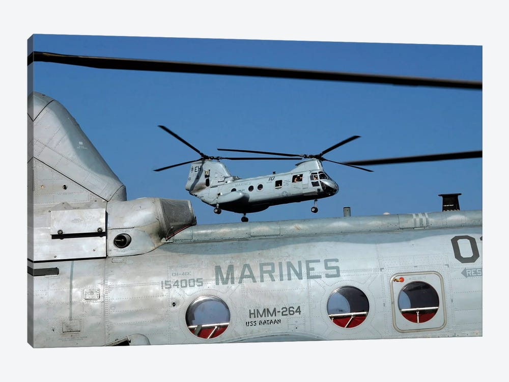 US Marine Corps CH-46 Sea Knight Helicopters by Stocktrek Images 1-piece Canvas Print