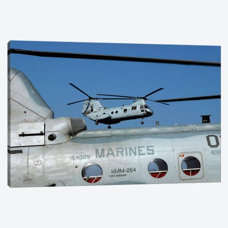 US Marine Corps CH-46 Sea Knight Helicopters Canvas Print #TRK1026} by Stocktrek Images Canvas Print