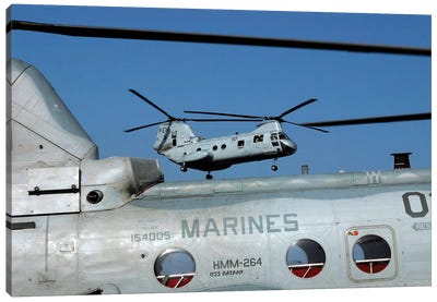 US Marine Corps CH-46 Sea Knight Helicopters Canvas Art Print