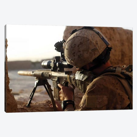 US Marine Looks Through The Scope Of His M16A4 Rifle For Enemy Forces Canvas Print #TRK1027} by Stocktrek Images Art Print