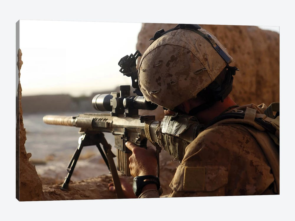 US Marine Looks Through The Scope Of His M16A4 Rifle For Enemy Forces by Stocktrek Images 1-piece Canvas Wall Art
