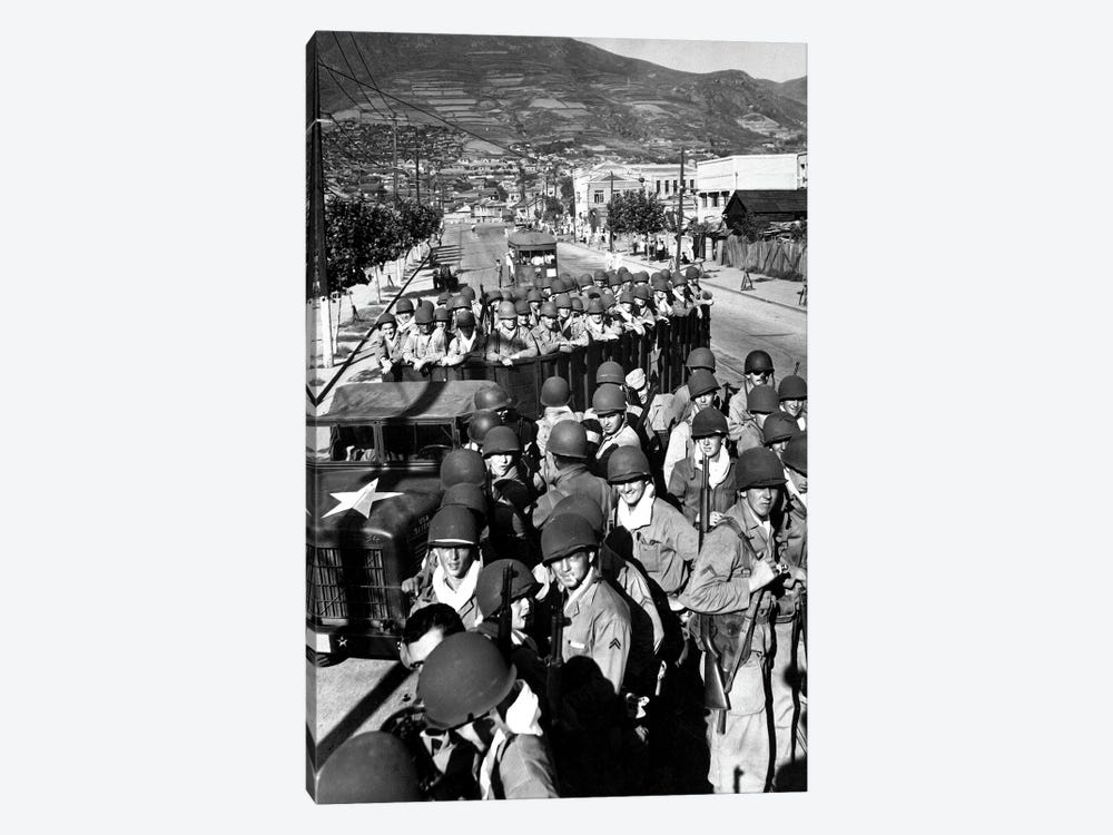 US Marine Troops Arrive At The Supply Port Of Busan, South Korea by Stocktrek Images 1-piece Canvas Art Print