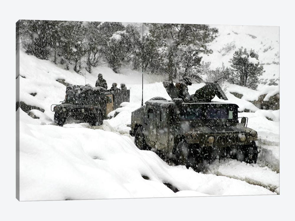 US Marines Conducting A Mounted Patrol In Khowst-Gardez Pass In Afghanistan by Stocktrek Images 1-piece Canvas Wall Art