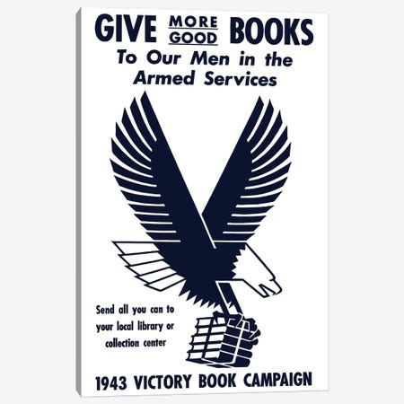 Vintage WWII Poster Of A Flying Eagle Clutching A Bundle Of Books Canvas Print #TRK102} by John Parrot Canvas Wall Art