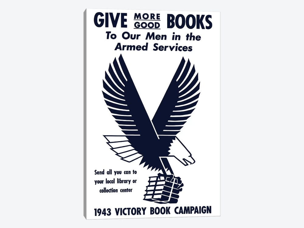 Vintage WWII Poster Of A Flying Eagle Clutching A Bundle Of Books by John Parrot 1-piece Canvas Wall Art