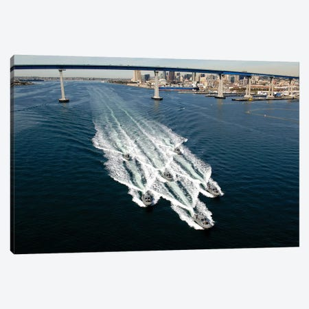 US Navy Patrol Boats Conduct Operations Near The Coronado Bay Bridge In San Diego, California Canvas Print #TRK1036} by Stocktrek Images Canvas Art