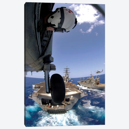 US Navy Petty Officer Leans Out The Door Of An SH-60 Seahawk Canvas Print #TRK1037} by Stocktrek Images Canvas Art