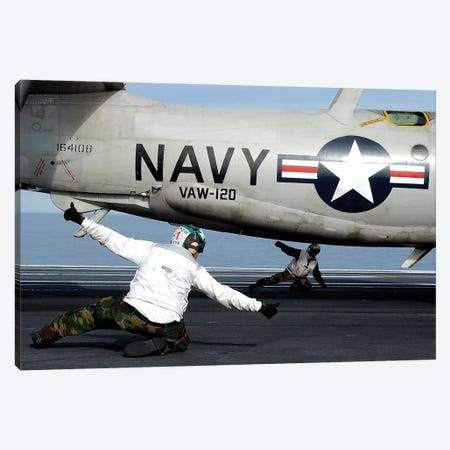 US Navy Sailors Give The Thumbs Up Signal Before Launching A E-2C Hawkeye Canvas Print #TRK1039} by Stocktrek Images Canvas Print
