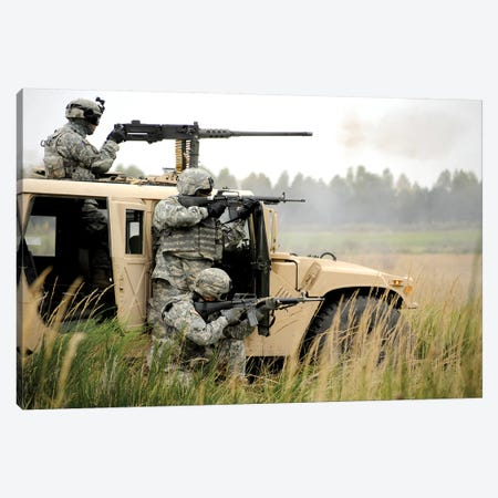 US Soldiers Perform A Platoon Mounted And Dismounted Live-Fire Exercise Canvas Print #TRK1040} by Stocktrek Images Canvas Artwork