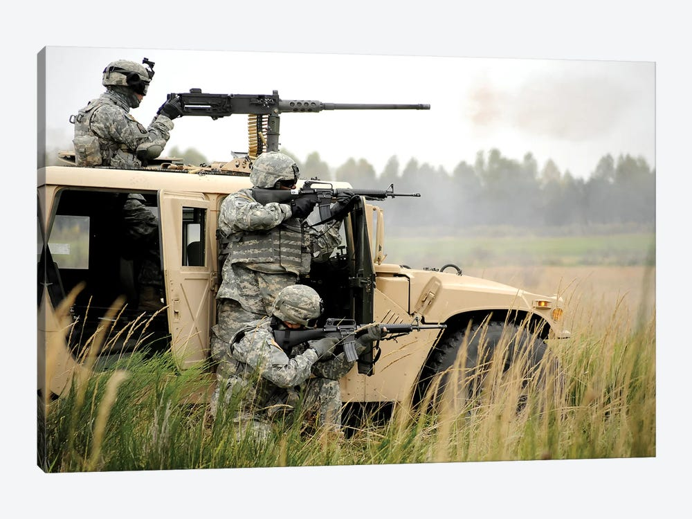 US Soldiers Perform A Platoon Mounted And Dismounted Live-Fire Exercise by Stocktrek Images 1-piece Art Print