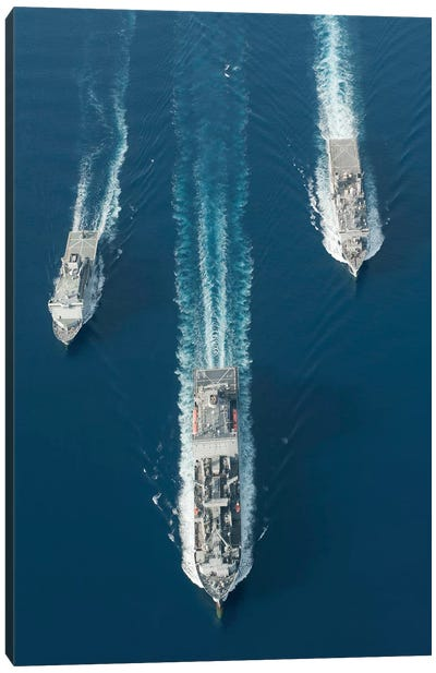 USNS Matthew Perry, USS Pearl Harbor And HMNZS Canterbury Transit The Vella Gulf I Canvas Art Print