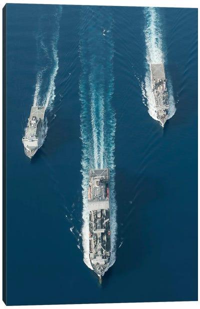 USNS Matthew Perry, USS Pearl Harbor And HMNZS Canterbury Transit The Vella Gulf I Canvas Art Print