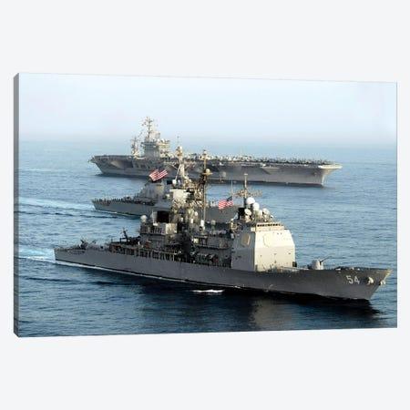 USS Antietam, USS Nimitz, And USS Higgins Transit Through The Gulf Of Oman Canvas Print #TRK1045} by Stocktrek Images Canvas Art Print