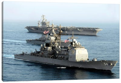 USS Antietam, USS Nimitz, And USS Higgins Transit Through The Gulf Of Oman Canvas Art Print