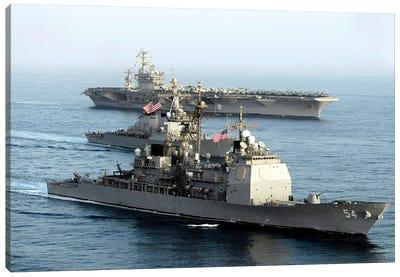USS Antietam, USS Nimitz, And USS Higgins Transit Through The Gulf Of Oman Canvas Art Print