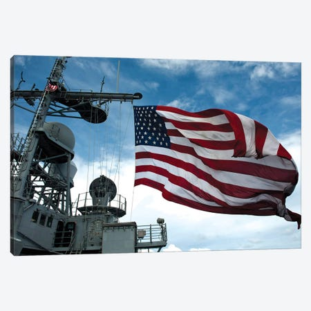 USS Cowpens Flies A Large American Flag During A Live Fire Weapons Shoot Canvas Print #TRK1048} by Stocktrek Images Canvas Art