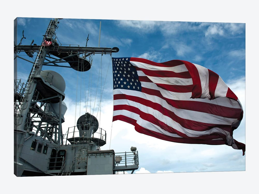 USS Cowpens Flies A Large American Flag During A Live Fire Weapons Shoot by Stocktrek Images 1-piece Art Print