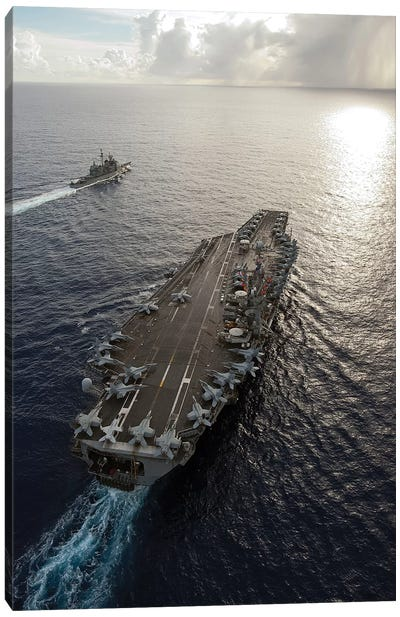 USS George Washington And USS Mobile Bay Underway In The Pacific Ocean Canvas Art Print