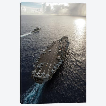 USS George Washington And USS Mobile Bay Underway In The Pacific Ocean Canvas Print #TRK1050} by Stocktrek Images Canvas Print