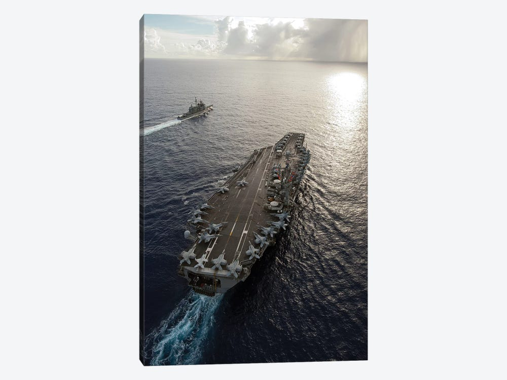USS George Washington And USS Mobile Bay Underway In The Pacific Ocean by Stocktrek Images 1-piece Canvas Wall Art