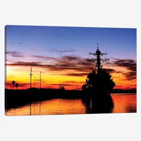 USS Spruance Is Pierside At Naval Weapons Station, Seal Beach, California Canvas Print #TRK1055} by Stocktrek Images Canvas Artwork