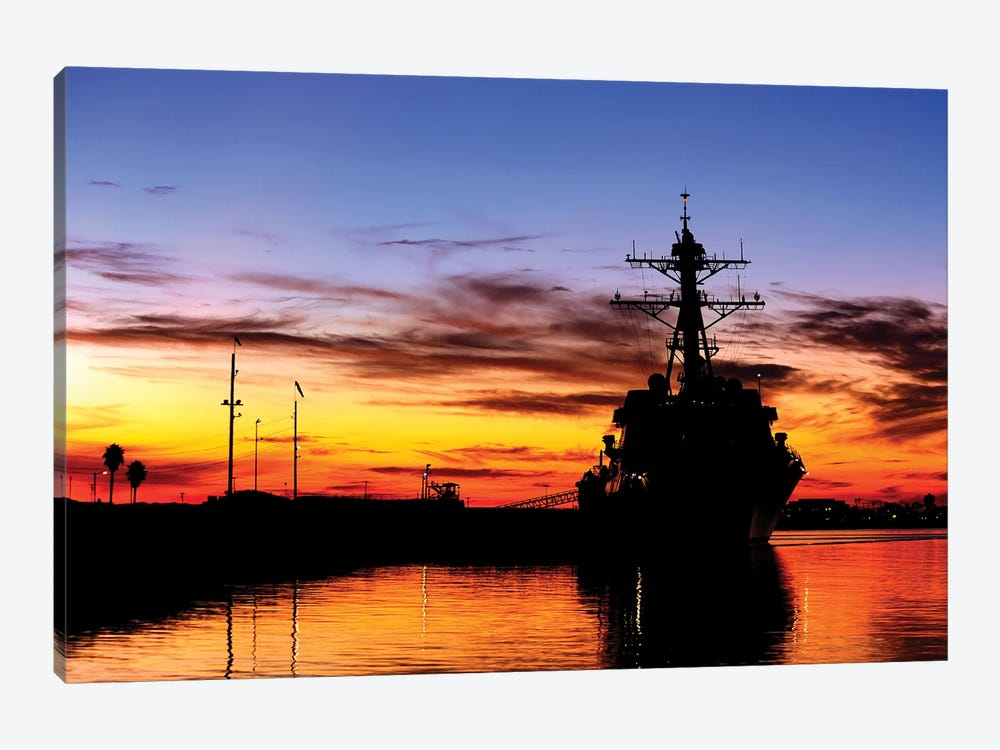 USS Spruance Is Pierside At Naval Weapons Station, Seal Beach, California by Stocktrek Images 1-piece Canvas Print