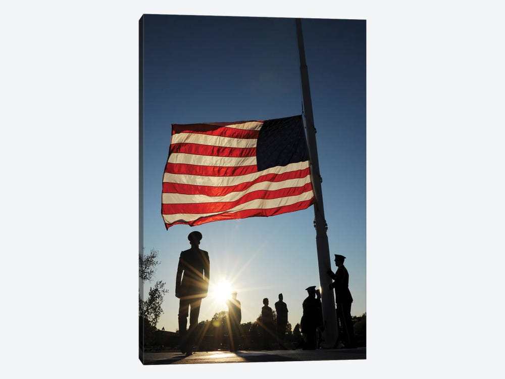 Veteran's Day Retreat Ceremony At Little Rock Air Force Base by Stocktrek Images 1-piece Canvas Wall Art