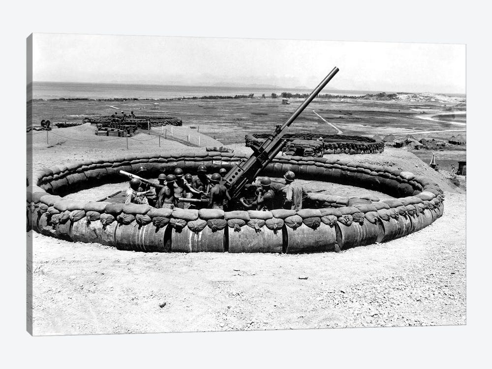 View Of A 90mm AAA Gun Emplacement, Okinawa, Japan by Stocktrek Images 1-piece Canvas Art Print
