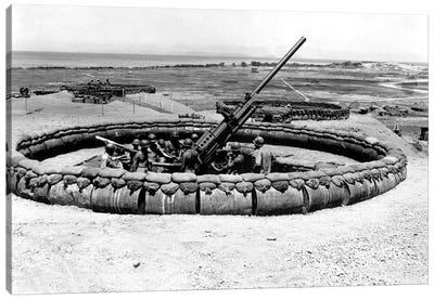 View Of A 90mm AAA Gun Emplacement, Okinawa, Japan Canvas Art Print