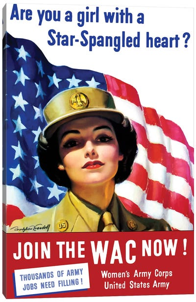 Vintage WWII Poster Of A Member Of The Women's Army Corps Canvas Art Print