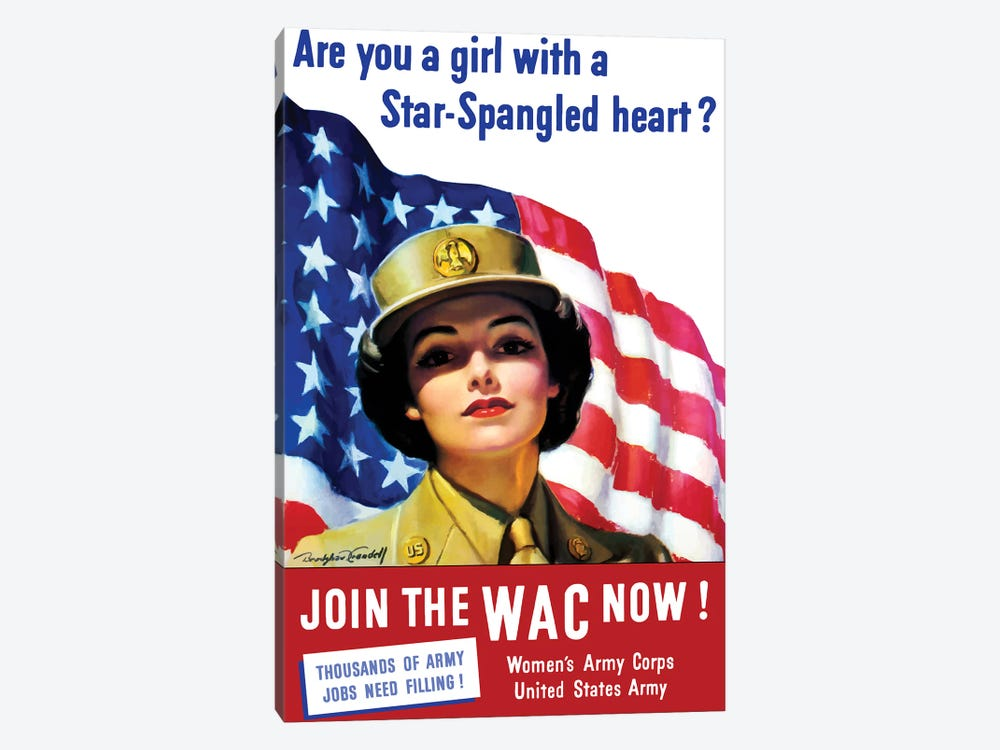 Vintage WWII Poster Of A Member Of The Women's Army Corps by John Parrot 1-piece Canvas Art Print