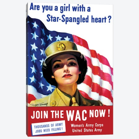 Vintage WWII Poster Of A Member Of The Women's Army Corps Canvas Print #TRK105} by John Parrot Canvas Art Print