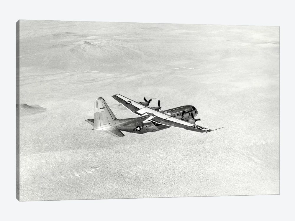 YC-130 During Its Ferry Flight From Burbank, California To Edwards Air Force Base by Stocktrek Images 1-piece Canvas Art Print