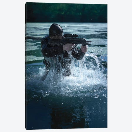 Special Operations Forces Soldier Emerges From Water Armed With A Steyr Aug Assault Rifle Canvas Print #TRK1064} by Tom Weber Art Print