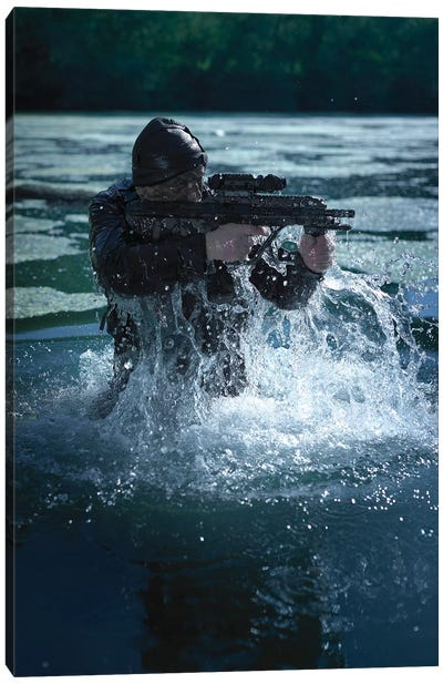 Special Operations Forces Soldier Emerges From Water Armed With A Steyr Aug Assault Rifle Canvas Art Print