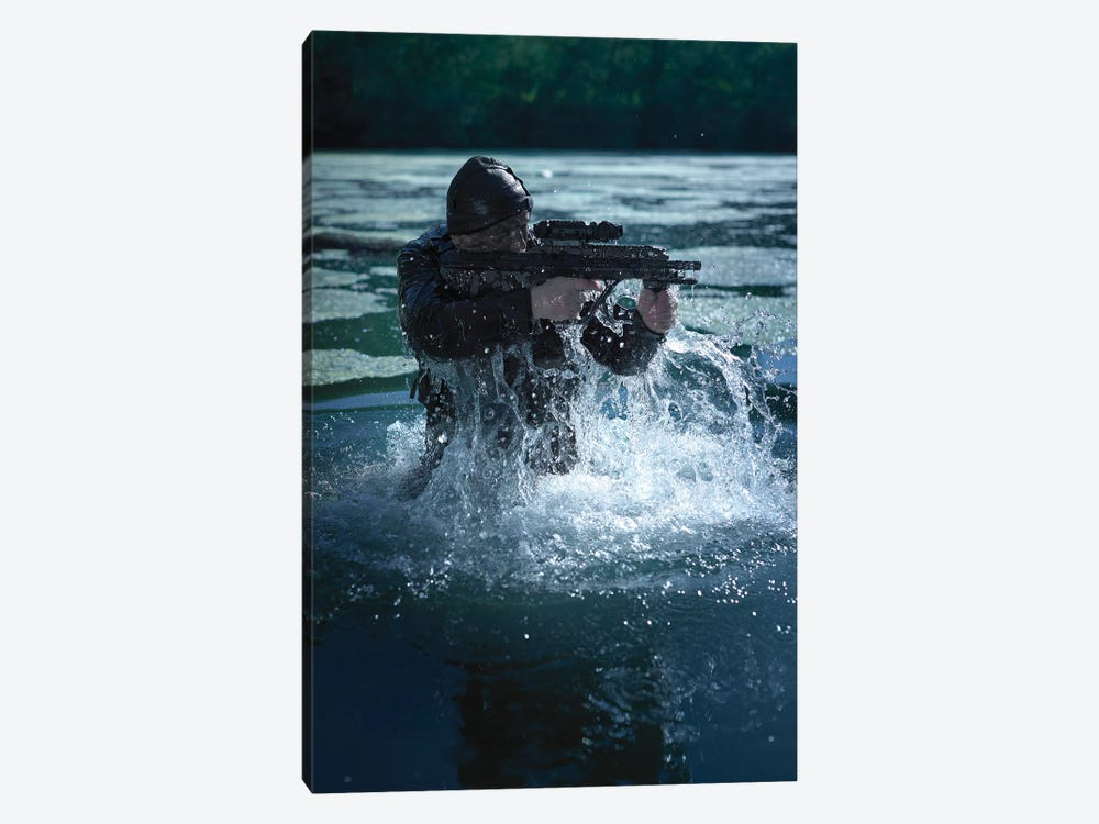 Special Operations Forces Soldier Emerges From Water Armed With A Steyr Aug Assault Rifle by Tom Weber 1-piece Canvas Art Print