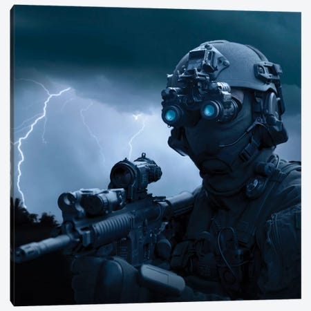 Special Operations Forces Soldier Equipped With Night Vision And An HK416 Assault Rifle Canvas Print #TRK1065} by Tom Weber Canvas Print