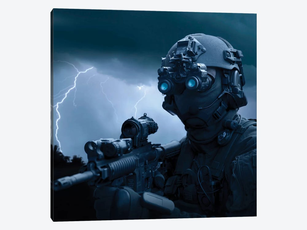 Special Operations Forces Soldier Equipped With Night Vision And An HK416 Assault Rifle by Tom Weber 1-piece Canvas Artwork