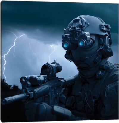 Special Operations Forces Soldier Equipped With Night Vision And An HK416 Assault Rifle Canvas Art Print