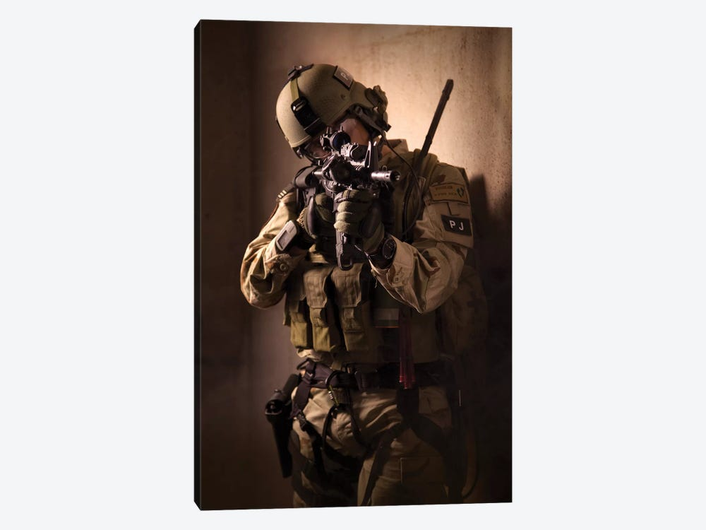 US Air Force CSAR Parajumper Armed With An Automatic Rifle 1-piece Canvas Art Print