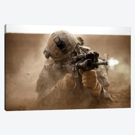 US Army Ranger In Afghanistan Combat Scene Canvas Print #TRK1067} by Tom Weber Canvas Art Print