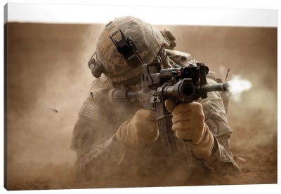 US Army Ranger In Afghanistan Combat Scene Canvas Art Print