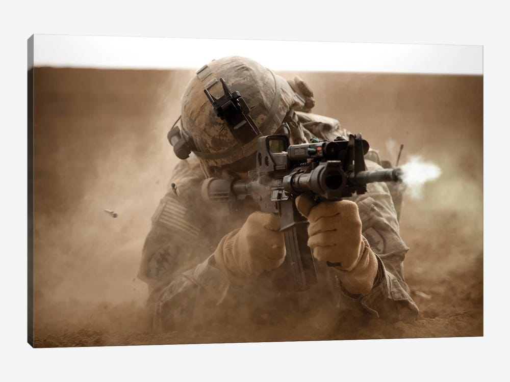 US Army Ranger In Afghanistan Combat Scene by Tom Weber 1-piece Canvas Art