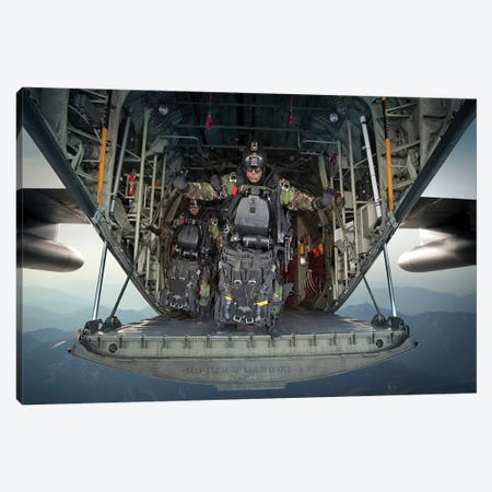 US Navy Seals Combat Diver Prepares For Halo Jump Operations From A C-130 Hercules Canvas Print #TRK1068} by Tom Weber Canvas Art