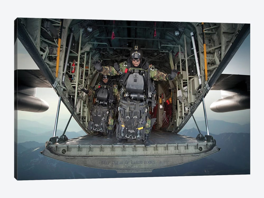US Navy Seals Combat Diver Prepares For Halo Jump Operations From A C-130 Hercules by Tom Weber 1-piece Canvas Print