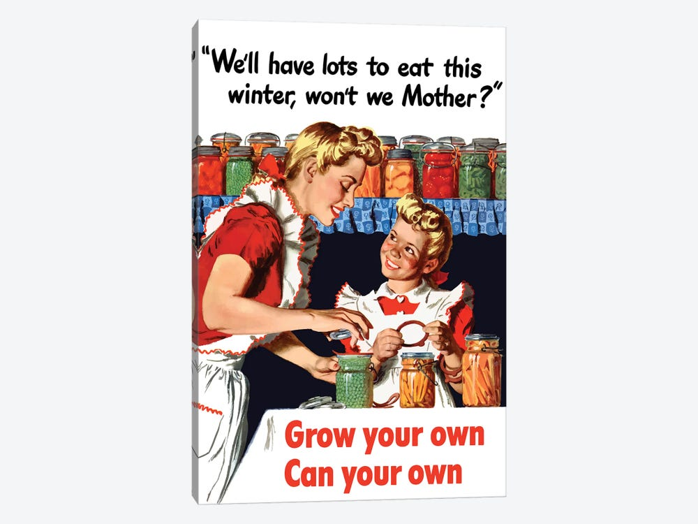 Vintage WWII Poster Of A Mother And Daughter Canning Vegetables by John Parrot 1-piece Canvas Artwork