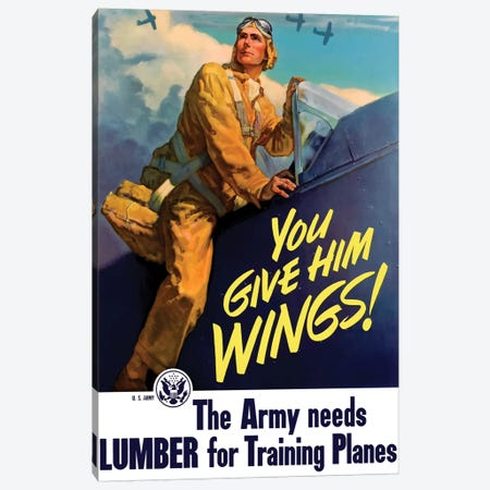 Vintage WWII Poster Of A Pilot Getting Into His Plane Canvas Print #TRK107} by John Parrot Canvas Print